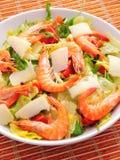 Salad with shrimps and parmesan Stock Photos