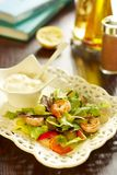 Salad with shrimps, peach and grapes royalty free stock photos