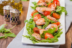 Salad with shrimps or prawn, tomato and arugula Stock Photos