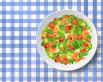 Salad with shrimps or prawns, avocado, fresh tomatoes, arugula o Royalty Free Stock Photo