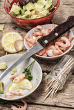 Salad with shrimps, sea breeze Stock Images