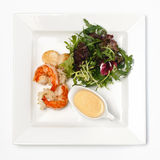 Salad with shrimps and sea combs Royalty Free Stock Image