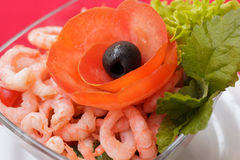 Salad with shrimps and vegetables Royalty Free Stock Image