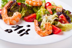 Salad with shrimps on a white plate. Shrimp salad on white plate close up Stock Photography