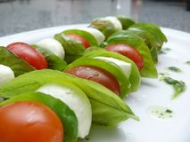 Salad Skewer. Two salad skewer with tomatoes, salad and goat cheese Stock Images