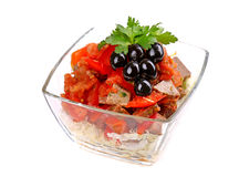 Salad of sliced meat and tomatoes Stock Photo