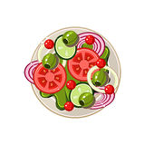 Salad of Sliced Vegetables Served Food. Vector Stock Photo