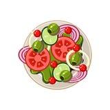 Salad of Sliced Vegetables Served Food. Vector Stock Photo