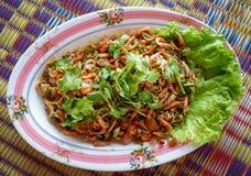 Salad Small shrimp. Grilled on box Stock Photos