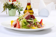 Salad with smoked duck breast Stock Image