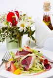 Salad with smoked duck breast Stock Photos