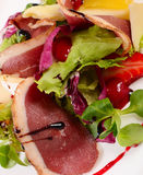 Salad with smoked duck breast Royalty Free Stock Images