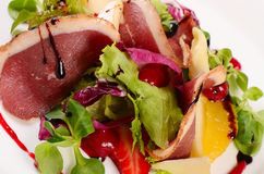 Salad with smoked duck breast Royalty Free Stock Photography