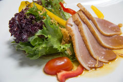 Salad with smoked duck Stock Photos