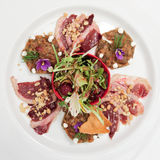 Salad with smoked duck fillet Royalty Free Stock Photos