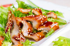 Salad with smoked eel and unagi sauce Royalty Free Stock Photos