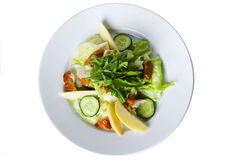 Salad with smoked fish, iceberg lettuce and Royalty Free Stock Images