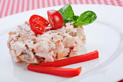 Salad with smoked meat and vegetables Stock Images