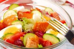 Salad with smoked salmon Stock Image