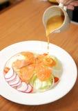 Salad with smoked salmon Stock Photography