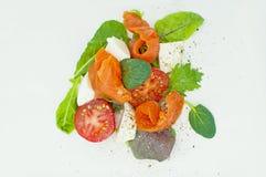 Salad with smoked salmon. Mozzarella and tomatoes Royalty Free Stock Image