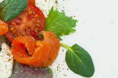 Salad with smoked salmon. Mozzarella and tomatoes Stock Images
