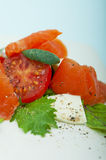 Salad with smoked salmon Royalty Free Stock Image