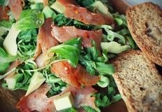 Salad. With Smoked Salmon, Avocado, Argula and Corn Royalty Free Stock Photography