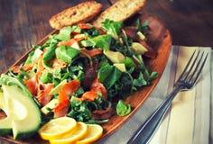 Salad. With Smoked Salmon, Avocado, Argula and Corn Royalty Free Stock Photo