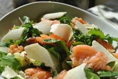 Salad with smoked salmon Stock Photos