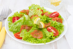 Salad with smoked salmon and tomato Stock Image