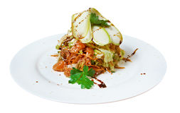 Salad - smoked salmon ,zucchini with vegetables Stock Photos