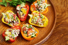 Salad snack bell peppers stuffed couscous with vegetables Royalty Free Stock Photo