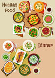 Salad and snack dishes for festive dinner icon set. Salad and snack food dishes for dinner icon set of vegetable salad with pork, salmon, beef, shrimp and ham Royalty Free Stock Photos