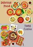 Salad, snack and soup dishes icon for food design. Salad, snack and soup dishes icon set of vegetable and fruit salads, ham roll, baked cheese and fish Royalty Free Stock Image