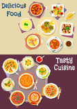 Salad, soup and pastry dishes icon set design. Salad, soup and pastry dishes icon set of cream soup with fish, meat, shrimp and vegetables, bean beef stew Royalty Free Stock Photography