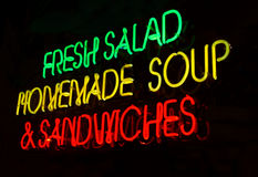 Salad Soup Sandwich Neon Sign Royalty Free Stock Image