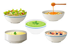 Salad and soups in white bowls. Illustration Royalty Free Stock Photography