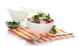 Salad, sour cream, sunflower oil and fork Stock Images