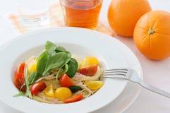 Salad spaghetti. Cold spaghetti with baby leaf Stock Photo