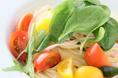 Salad spaghetti. Cold spaghetti with baby leaf Royalty Free Stock Images