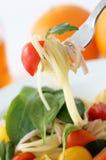 Salad spaghetti. Cold spaghetti with baby leaf Royalty Free Stock Photos