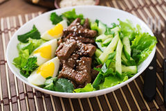 Salad with spicy beef, cucumber and eggs. Royalty Free Stock Photos