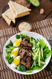 Salad with spicy beef, cucumber and eggs. Royalty Free Stock Images