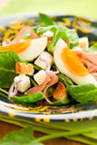 Salad with spinach,egg and ham Royalty Free Stock Images