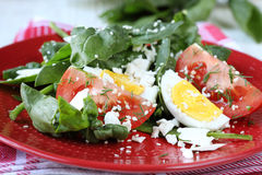 Salad with spinach and goat cheese Stock Photo