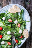 Salad from spinach, tomatoes and mozzarella Stock Photo