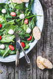 Salad from spinach, tomatoes and mozzarella royalty free stock photo