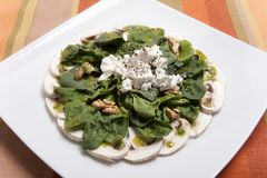 Salad of Spinach, Spinach rich in vitamins and minerals stock image
