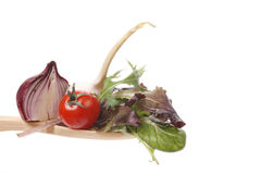 Salad on a spoon Royalty Free Stock Image